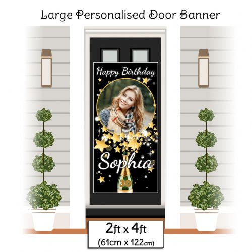 Personalised Happy Birthday Door PHOTO Banner Poster ~ Champagne Star Burst N6